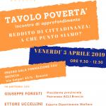 5 aprile 2019 incontro tematico REDDITO DI CITTADINANZA: a che punto siamo?