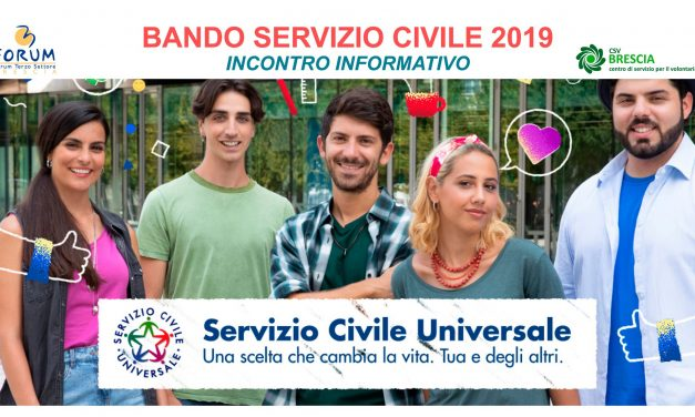 Bando Servizio Civile 2019 – Incontro Informativo mercoledì 2 ottobre